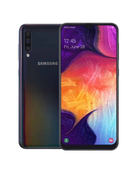 samsung galaxy a50 with colorful graphic screen image