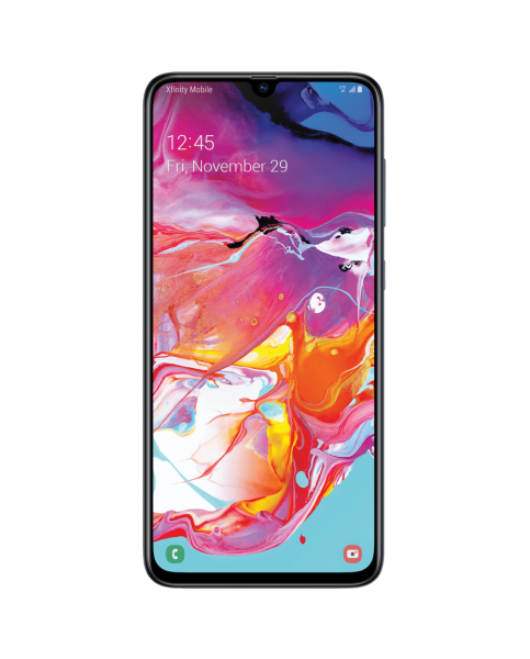 samsung galaxy a70 with colorful graphic screen image