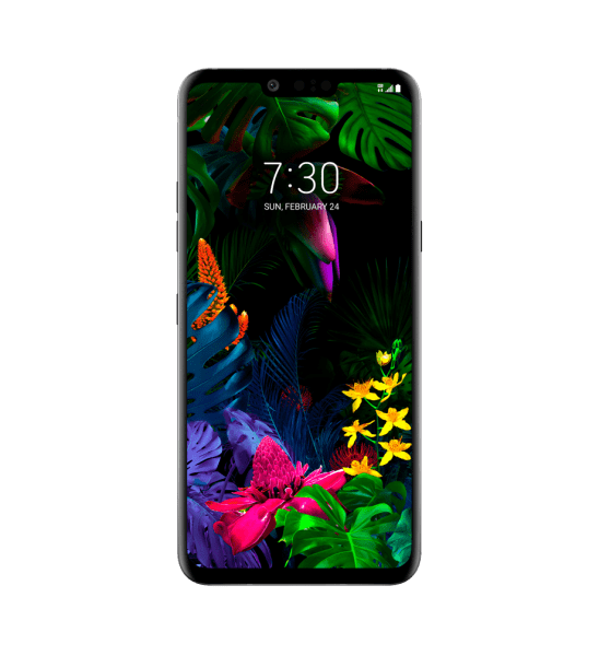 lg g8 thinq phone with colorful floral screen design